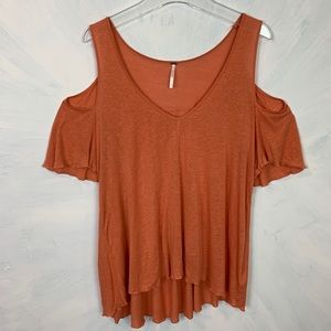 Free People Cold Shoulder Orange Knit Shirt